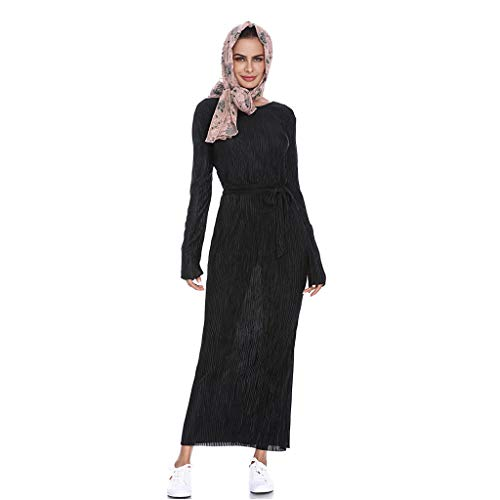 Muslimische jurk voor dames, lang, abaya-jurk, maxirok, gestreept, lange mouwen, franjes, riem, ronde hals, muzik, Dubai Kaftan Arab ademend, Islamic rok, etnozomer zoom, onregelmatige avondjurk.