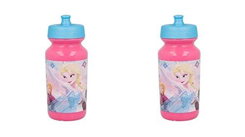 3147; pack de 2 Botellas para Agua push-up Disney Frozen; Capacidad 340 ml; Reutilizable; libre de BPA; Ideal para Cualquier ocasión