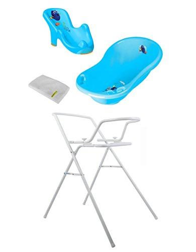 Baby Badewanne Disney Findet Dorie 84 cm mit Stöpsel + Badesitz + Badewannenständer + Waschhandschuh
