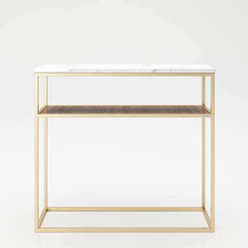 PLAYBOY 135801NBW despensas con Almacenamiento, aparador, Mesa Consola, Nogal, marmol, Dorado, 105 x 95 x 30 cm