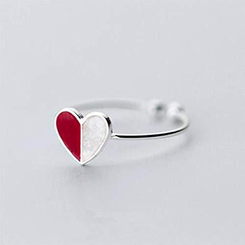 LXLLXL Offene Ringe Für Damen,Vintage Einstellbare Öffnen Silver Heart-Shaped Mosaik Hit Rote...