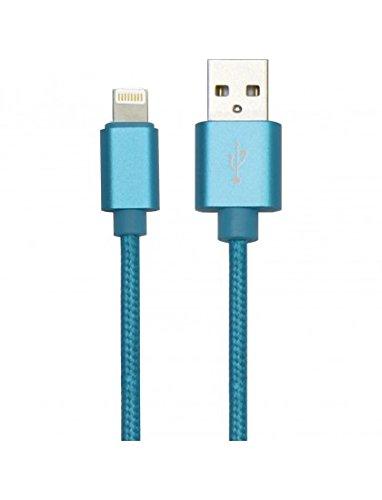 Simply ICIP07 Cable USB trenzado clásico de 1,5 m de largo, compatible con cualquier dispositivo Apple con un puerto Lightning de 8 pines, carga y sincronización, color azul