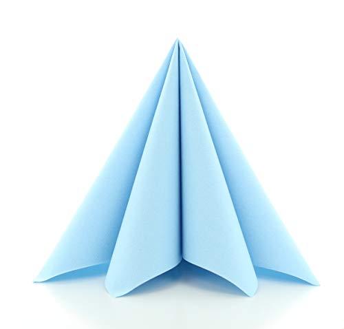 Prime Guest Servietten HELLBLAU | Premium Edition für Hochzeiten und Feiern | aus Prime Guest Airlaid | stoffähnlich | 50er Packung | 50 Stück | 40 x 40 cm | ¼ Falz