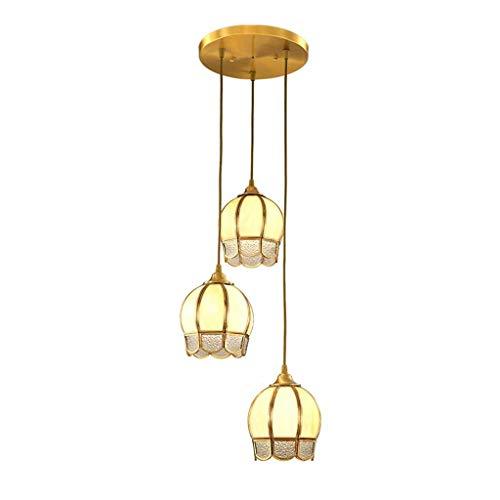 Lámpara de techo, salón, dormitorio, pasillo de cristal, pantalla de lámpara, sala de estudio, restaurante, bar, colgante de cobre con 3 cabezas [Clase energética A +]