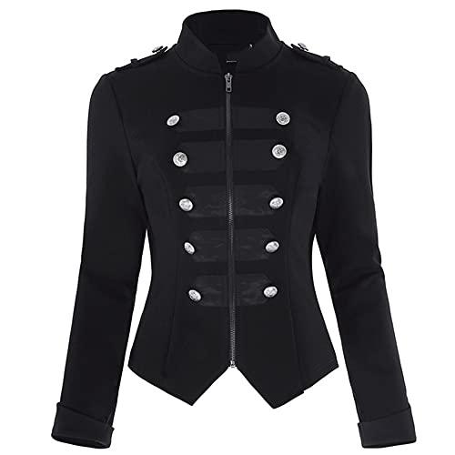 N\P Chaqueta gótica botones de mujer con cremallera Frente de manga larga Abrigos de doble fila negra