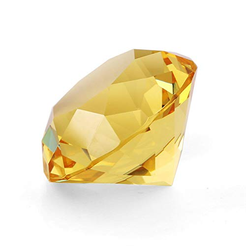 """Zoogamo 4"""" / 100 mm Yellow Diamond Shaped Glass Crystal Paperweight – Home Office Decor & Valentine's Day Gift Wedding Favors Centerpieces Decoration with Gift Box"""