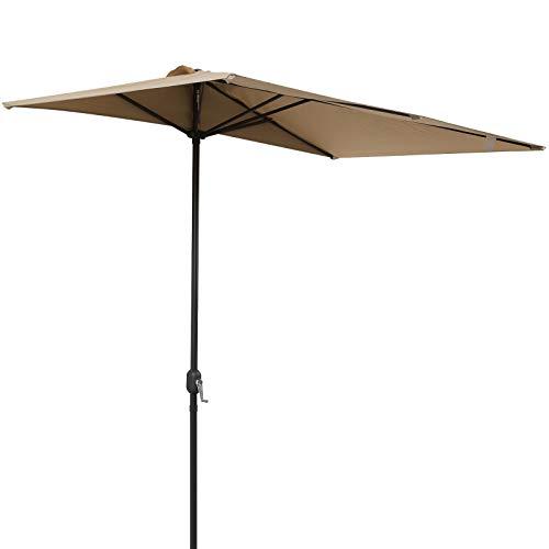Outsunny Sombrilla de Media Pantalla de Jardín Parasol de Patio Terraza Rectangular con Manivela 230x130x245cm