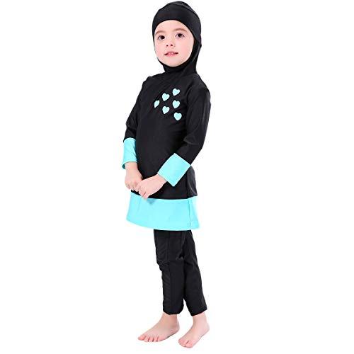 Bmeigo Muslimische Bademode Mädchen - Burkini Schwimmanzug Long Sleeved Kinder Bescheidenen Badeanzüge-130cm-Schwarz