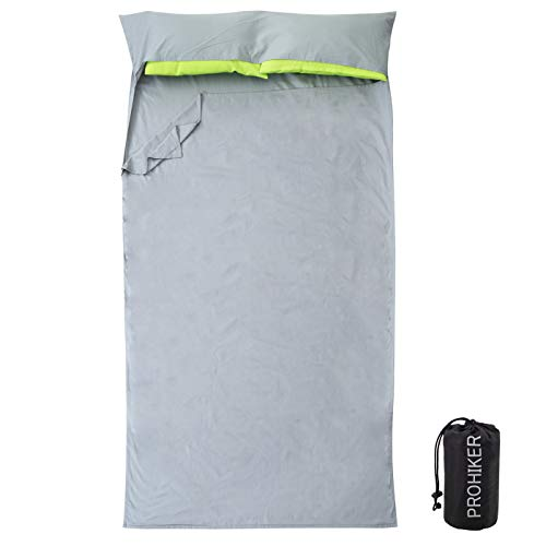 PROHIKER Outdoor Sleeping Bag Liner, Lightweight Sleeping Sack for Travel,Camping, Hotels, 100% Cotton, Breathable & Soft Fabric with Compact Sack (46 in)