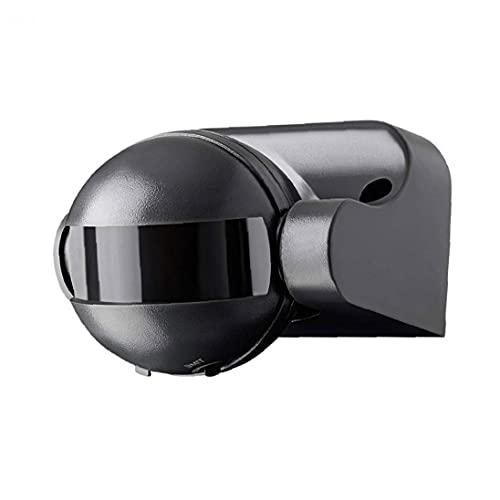 Sensor PIR al aire libre montado en la pared de la superficie del detector de movimiento Rango de hasta 12 m de 180 grados gira sobre un eje 220 de Negro de luz, interruptor