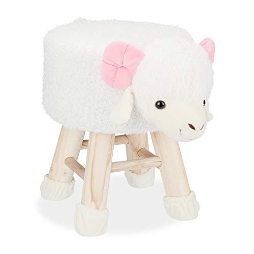 Relaxdays Taburete Infantil Animal Forma de Cabra con Funda Extraíble, Madera, Blanco, 34,5 x 28 cm