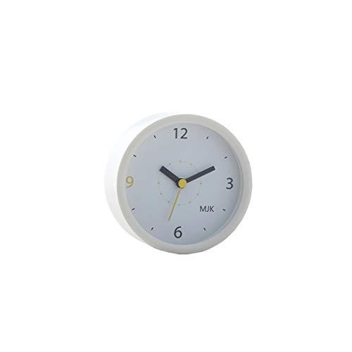 S.W.H Reloj de Alarma Simple Sin tictac, con Pilas, pequeño Escritorio silencioso Reloj de cabecera Fácil de Leer para el Dormitorio Sala de Estar Decoración del hogar, Blanco