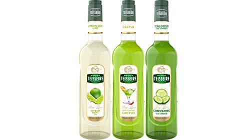 Teisseire Sirup Set Erfrischend: Sirup Limette + Kaktus + Gurke - 3 x 700ml