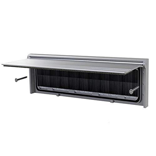 Metall-Briefschlitz mit Borstenschutz und Klappe External dimentions 293mm x 77mm (Internal Aperture 256mm x46mm) silber