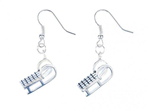 Miniblings Schlitten Ohrringe Hänger Rodeln Winter Schnee Kalt Bob Berg silber - Handmade Modeschmuck I Ohrhänger Ohrschmuck versilbert