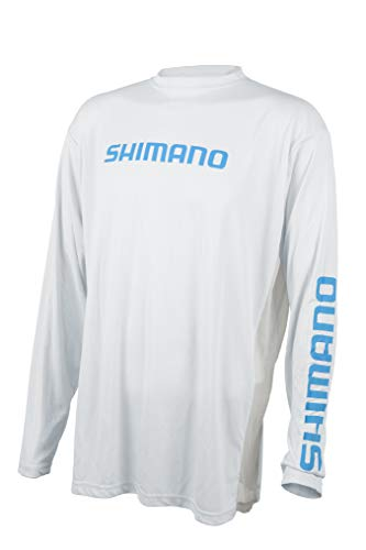 SHIMANO Camiseta de manga larga Tech Fishing Gear, M, Blanco