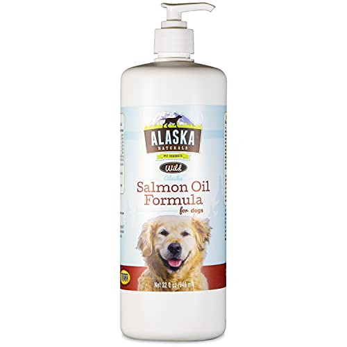 Alaska Naturals - Wild Salmon Oil Formula for Dogs - Omega-3 with DHA and EPA - Nutritional Supplement for Healthy Skin  Shiny Coat - Reduces Shedding - No Artificial Additives - 32oz Pump Bottle…