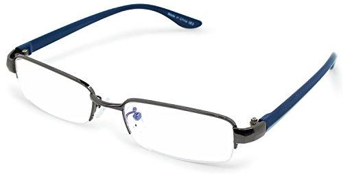 エニックス 老眼鏡 メンズ +2.5 度数 メタルフレーム 反射防止レンズ ガンメタリック × ネイビー R-6001+2.50