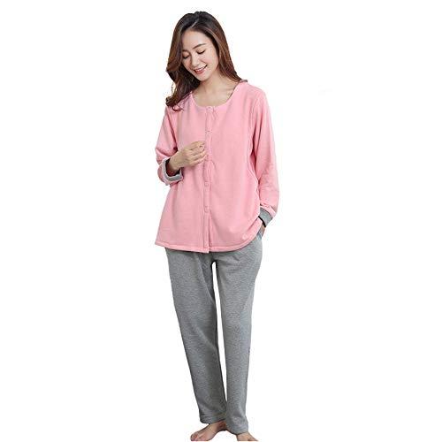 qazxsw Damen Plus Samt verdickt Warm Pyjama Cardigan Stillkleidung Herbst und Winter...