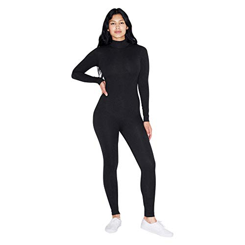 American Apparel Damen Cotton Spandex Long Sleeve Turtleneck Catsuit Bodystocking, schwarz, X-Klein