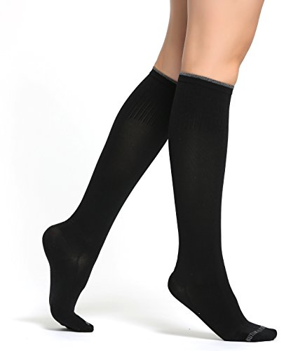Tasten & Falten Kompressions Socken Damen–Paar Medical Grade Graduated Socke–Ideal für Laufen Schwangerschaft, Flight, Reisen & Krankenschwester Profis, Damen, schwarz, Medium-Large