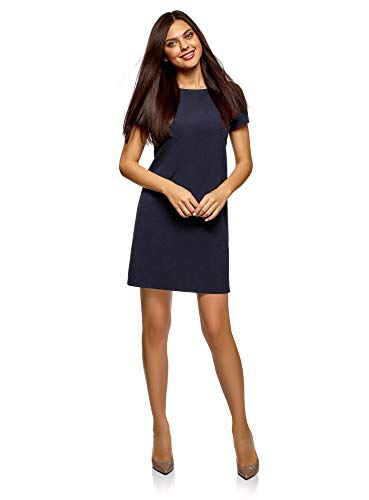 oodji Collection Damen Gerade Geschnittenes Kleid Basic, Blau, DE 38 / EU 40 / M