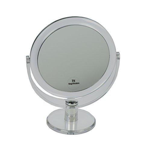 Fantasia Miroir sur Pied Rond Double Face grossissant Normal et 7 x Ø 16 cm, Hauteur 22 cm, métal/Acrylique