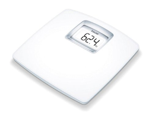 Beurer PS25 - Báscula de baño con pantalla LCD iluminada grandes dígitos (3.9cm), gran plataforma de 34 x 34.5 cm, apagado automático, 180KG /100gr color blanco