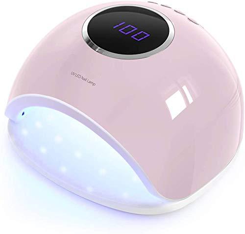 AZOREX Lámpara de Uñas Secador Manicura 48W LED UV Profesional Maquillaje Uñas con Temporizador 10/30 / 60 / 90s para Esmalte de Gel Curado (Rosa)