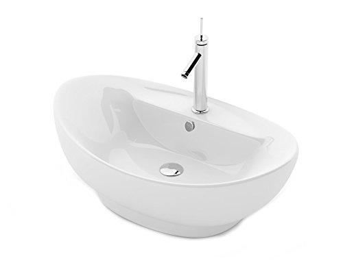 REA CINDY - Lavabo de baño (cerámica, 58,5 x 39 x 18 cm), diseño moderno