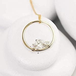 Gild Wire Wrapped Dainty Herkimer Diamond Circle Necklace, Minmalist Jewelry