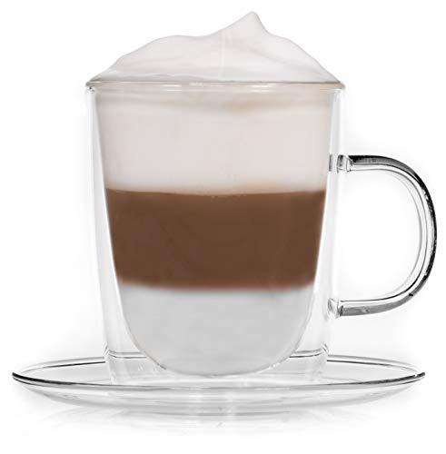 Snobby 450ml doppelwandige Tasse/Thermotasse/Glastasse/Teetasse/Kaffeetasse mit Unterteller und Schwebeeffekt by Feelino