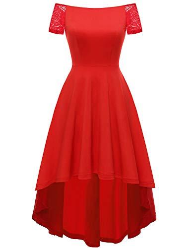 YOYAKER Damen Sommerkleid Kleid Vintage Retro Schulterfrei Spitzen Kurzarm Brautjungfernkleider Cocktail Party Abendkleider Red L