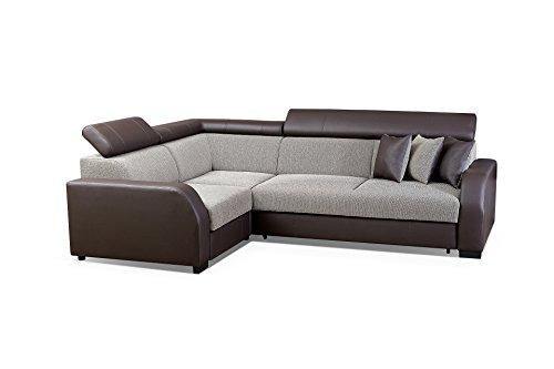 Ecksofa Sofa Eckcouch Couch mit Schlaffunktion und Bettkasten Ottomane L-Form Schlafsofa Bettsofa Polstergarnitur - HOUSTON (Ecksofa Links, Braun)