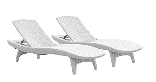Keter Pacific 2 ALL-WEATHER ajustable al aire libre Patio Chaise Lounge muebles, color blanco