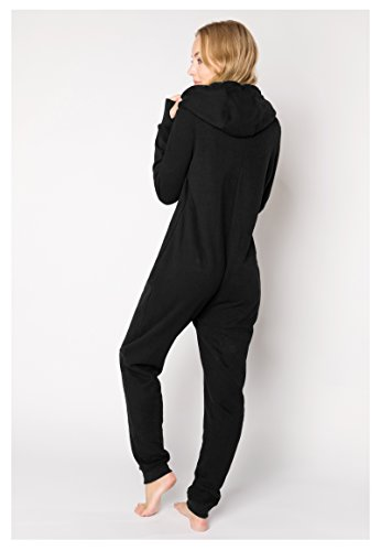 Eight2Nine Damen Sweat Overall | Kuscheliger Jumpsuit | Einteiler aus bequemen Sweat-Material einfarbig Black S/M - 5
