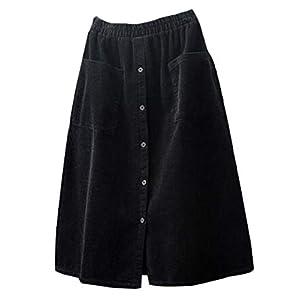 Women's Corduroy Midi Skirt Front Split Buttons