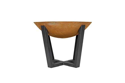 La Hacienda Icarus Oxidised Cast Iron Firepit with Steel Legs, Natural Rusted & Black, 58530