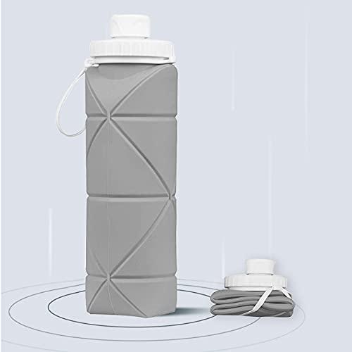 Botella de Agua Plegable,Botella Agua Deporte,Aprobada por La FDA Botella Silicona Plegable,Sin BPA,a Prueba de Fugas,Termo Ideal para Senderismo,Capacitación,Acampada (Gris)