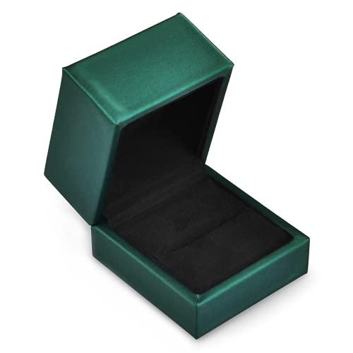 Oirlv Ring Leder Schmuckschatulle Valentinstag Hochzeitsvorschlag Geburtstag Geschenkbox Grün Leder Ring Geschenkbox Kleiner Ringhalter Vitrine Schmuck Ring Display Stand