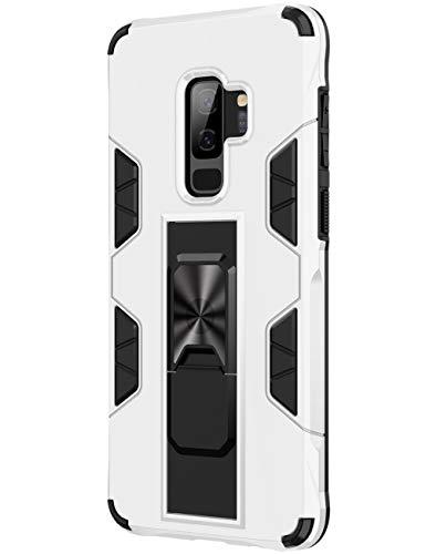 SharSon - Funda para Samsung Galaxy S9+, diseño invisible, con soporte, antigolpes, soporte magnético Beige blanco