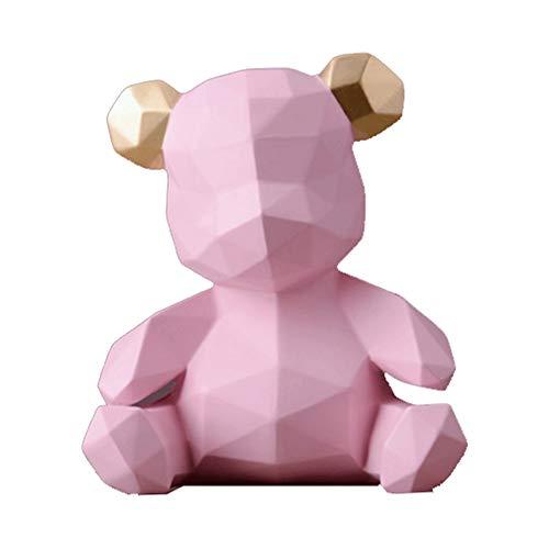 Huchas Nordic simple creativo del oso de la caja de dinero decoración del hogar de la sala de estar del sitio de niños de ahorro de regalo creativo de la caja hucha Tarro de Dinero ( Color : Pink )