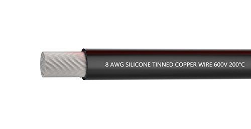 Cable eléctrico de calibre 8, cable de batería Cable de silicona 8 AWG, suave y flexible, negro 1650 hilos de cable de cobre estañado