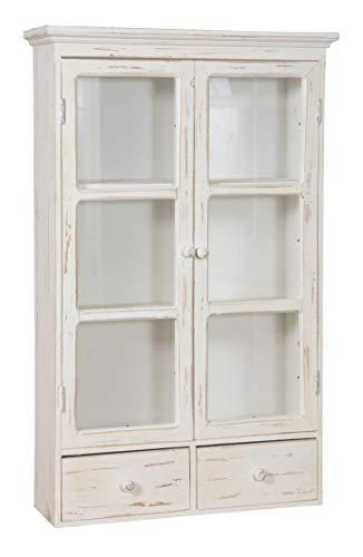 Biscottini vetrina vetrinetta bacheca piattaia espositore in Legno Bianca Shabby a Muro da Parete da Appendere da Collezione Vintage L46XPR14,5XH76 CM