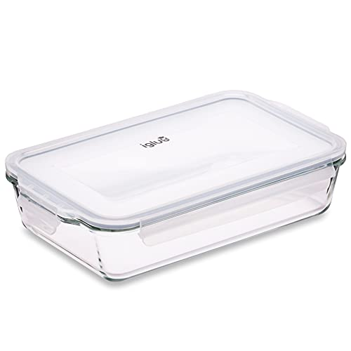 Igluu Meal Prep - Glass Lasagne Dish with Airtight Snap Lock Lid - Large Rectangular Oven-Safe Baking Dish - BPA-Free, Microwavable, Freezer and Dishwasher-safe Ovenware 2.2L (Cook n Freeze)