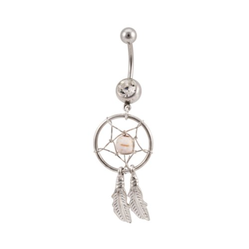 Sterling Silver Clear Dream Catcher Belly Button Navel Ring
