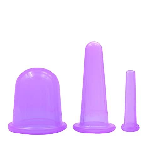 Juego de 3 tazas de silicona para el cuerpo de la cara del cuello y los ojos de la espalda, masaje anticelulítico masajeador con ventosa
