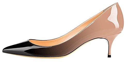 EDEFS Damen Schuhe Kitten Absatz Pumps Spitze Zehe Elegant Büro Schuhe BeigeBlack Größe EU37