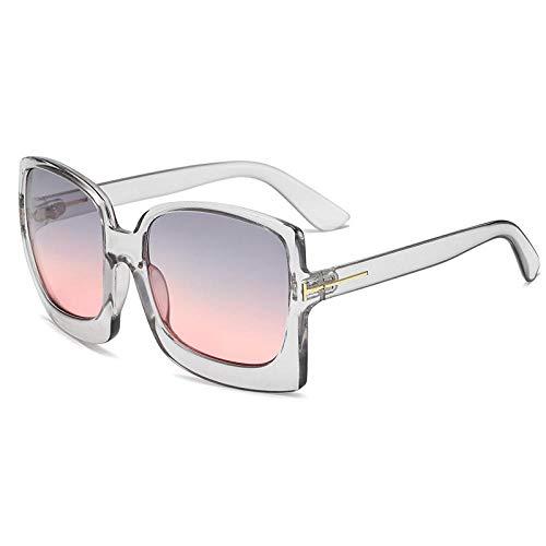 XDOUBAO Gafas de sol Sra. Sunglasses Hombre Caja Cientos de Hyper Tinta-Caja gris sobre polvo gris