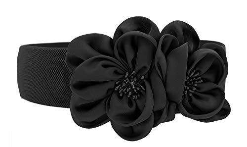 Las mujeres de las muchachas grandes de moda doble decoración flores hebilla ajustable cinturón de cintura ancha elástico (one size, negro)